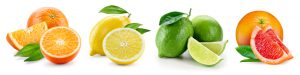 Fruit compositions with leaves isolated on white background. Orange, lemon, lime, grapefruit.